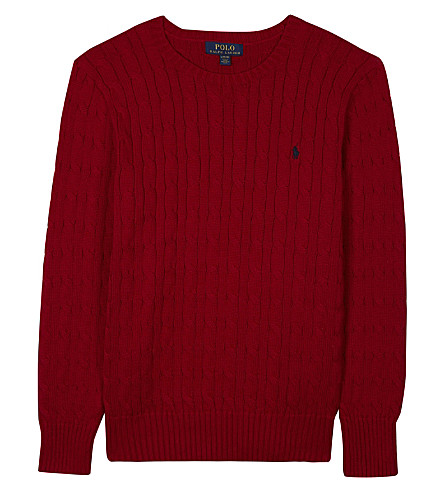 RALPH LAUREN Embroidered logo cable knit cotton jumper 6-14 years (Martin+red