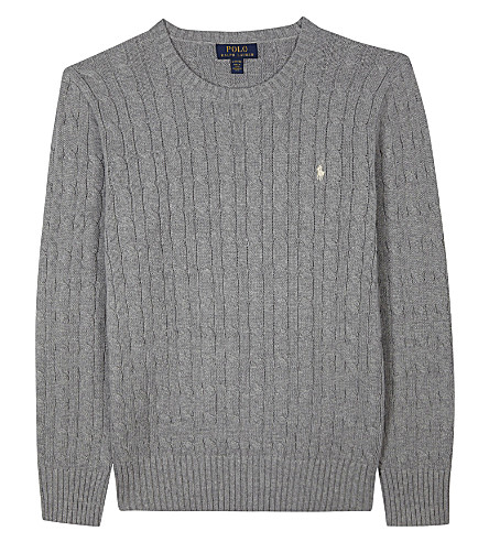 RALPH LAUREN Embroidered logo cable knit cotton jumper 6-14 years (Andover+heather