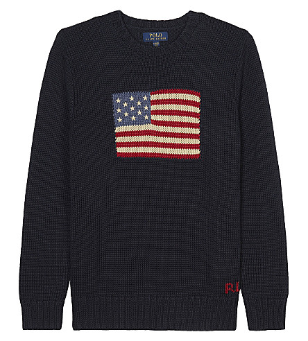 RALPH LAUREN Flag motif knitted jumper 6-14 years (Hunter+navy