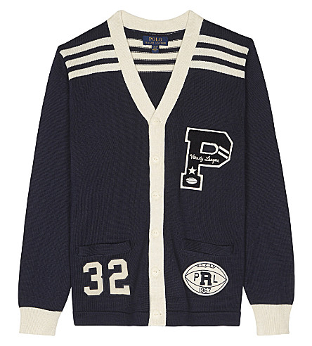 RALPH LAUREN Varsity cotton cardigan 7-14 years (Hunter+navy
