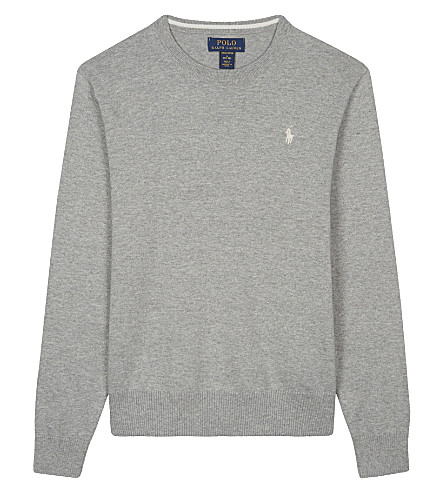 RALPH LAUREN Knitted cotton jumper 6-14 years (Andover+heather