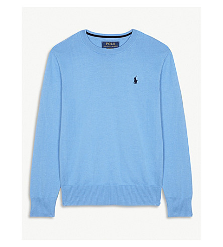RALPH LAUREN Cotton crew neck jumper S-XL (Florida+blue