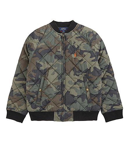 RALPH LAUREN Camouflage print baseball jacket 6-9 years (Green+camo