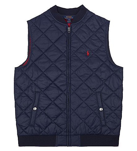 RALPH LAUREN Pony quilted gilet 7-14 years (French+navy