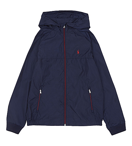 RALPH LAUREN Embroidered logo hooded windbreaker jacket 6-14 years (French+navy