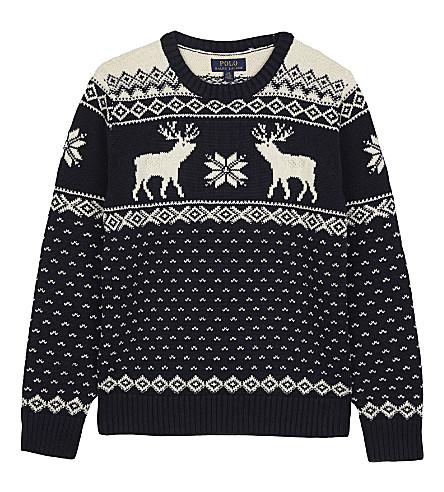 RALPH LAUREN Reindeer print cotton-wool jumper 6-14 years (Hunter+navy+mul