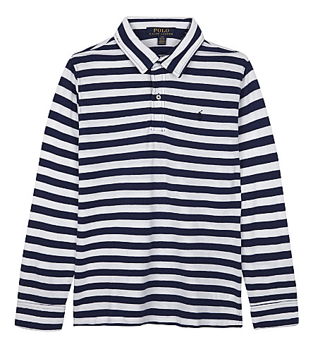 RALPH LAUREN Striped long-sleeve polo shirt 7-14 years (Freshwater+blue