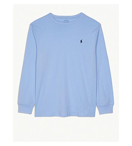 RALPH LAUREN 船员颈部棉长 t恤衫8-16 年 (奥斯汀 + 蓝色