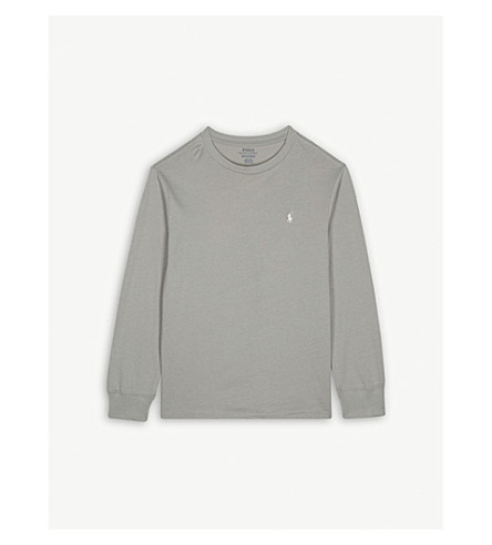 RALPH LAUREN Logo cotton long-sleeved top S-XL (Soft+grey