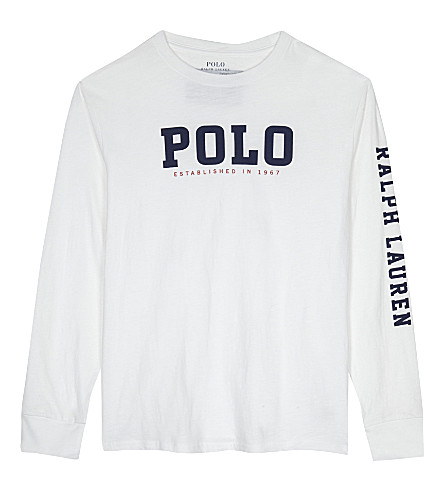 RALPH LAUREN Graphic print long-sleeve top 6-14 years (White