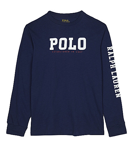 RALPH LAUREN Graphic print long-sleeve top 6-14 years (Freshwater