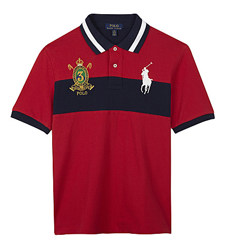 RALPH LAUREN Embroidered crest cotton polo shirt 6-14 years (Signal+red