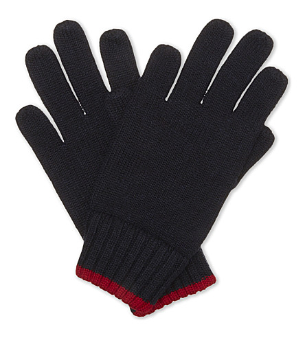 RALPH LAUREN Logo wool gloves (Hunter+navy