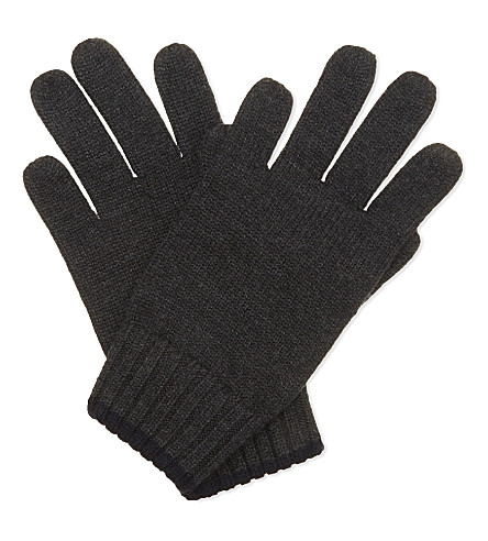RALPH LAUREN Logo wool gloves (Dark+charcoal+h