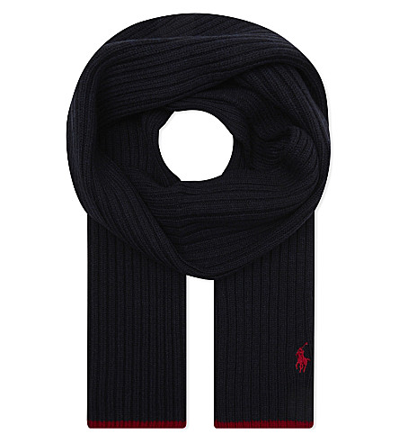 RALPH LAUREN Embroidered logo wool scarf (Hunter+navy