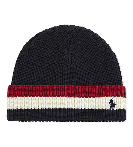 RALPH LAUREN Striped cotton beanie (Hunter+navy+mul