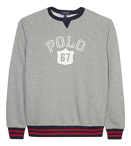 RALPH LAUREN Logo print cotton jumper 6-14 years (Andover+heather