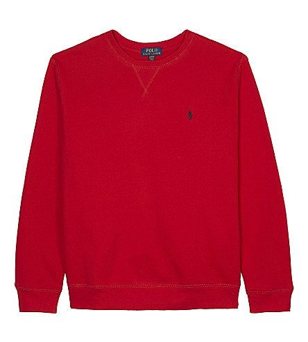 RALPH LAUREN Embroidered logo cotton-blend jumper 6-14 years (Rl+2000+red