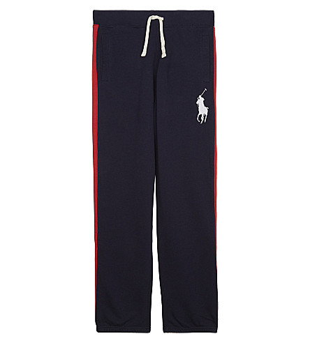RALPH LAUREN Big Pony striped cotton jogging bottoms 7-14 years (French+navy