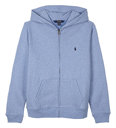 RALPH LAUREN Embroidered logo cotton zip-through hoody 6-14 years (Campus+blue+hea