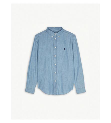 RALPH LAUREN Embroidered brand logo chambray shirt 2-4 years (Light+blue