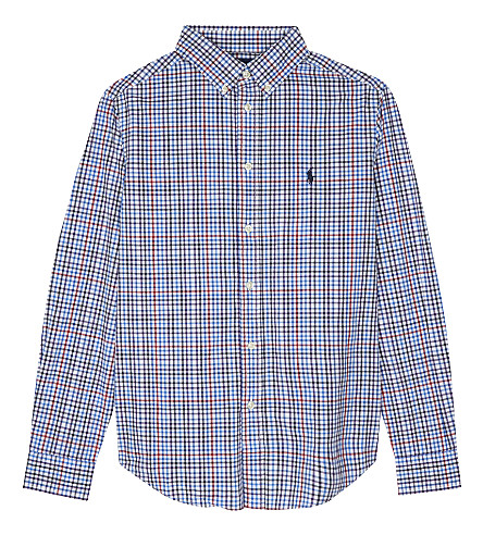 RALPH LAUREN Embroidered logo checked cotton shirt 6-14 years (Lt+blue+multi