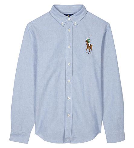 RALPH LAUREN Embroidered logo cotton shirt 6-14 years (Bsr+blue