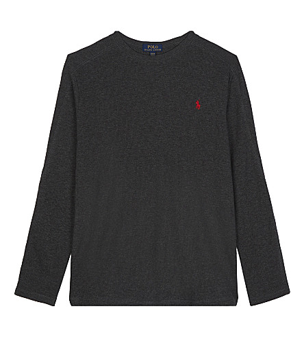 RALPH LAUREN Waffle-knit cotton top (Windsor+heather