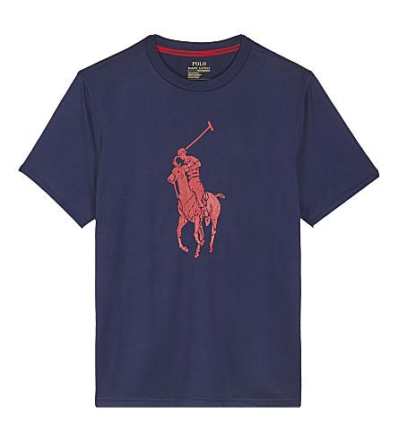 RALPH LAUREN Logo print T-shirt 6-14 years (French+navy