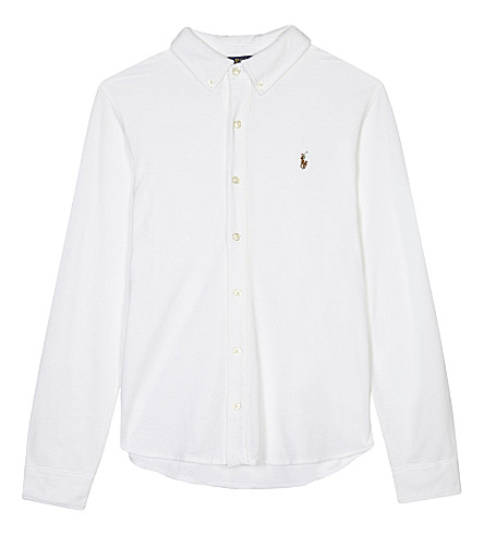 RALPH LAUREN Long-sleeved button polo shirt 6-14 years (White