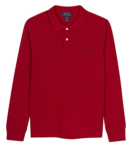 RALPH LAUREN Logo cotton polo shirt S-XL (New+red