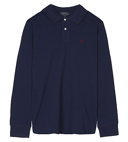 RALPH LAUREN Logo cotton polo shirt 6-14 years (Newport+navy