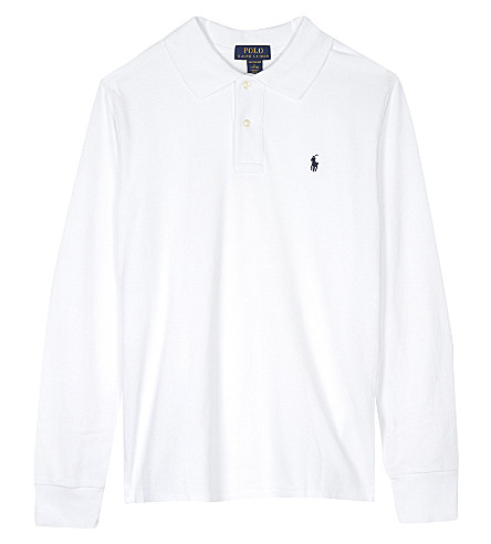 RALPH LAUREN Logo cotton polo shirt 6-14 years (White