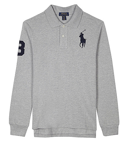 RALPH LAUREN Big embroidered polo player long-sleeved cotton polo shirt 6-14 years (Andover+heather