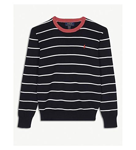 RALPH LAUREN Crew stripe cotton jumper (Navy+multi