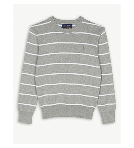RALPH LAUREN Striped cotton embroidered brand logo jumper 6-14 years (Grey+multi