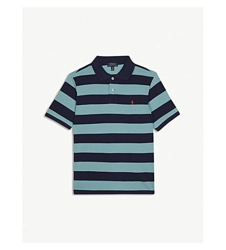 RALPH LAUREN Pony striped piqué-cotton polo shirt 6-14 years (Seafoam
