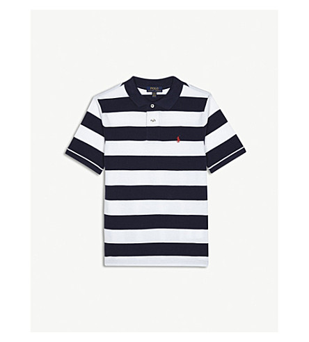 RALPH LAUREN Pony striped piqué-cotton polo shirt 6-14 years (Navy+multi
