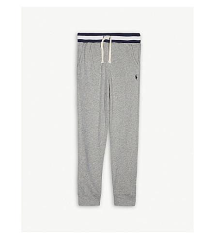 RALPH LAUREN Striped waist cotton jogging bottoms 6-14 years (Light+grey