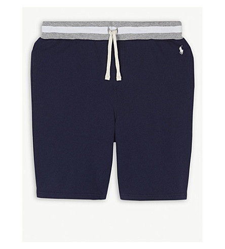 RALPH LAUREN Embroidered brand logo jersey cotton shorts 6-14 years (Newport+navy