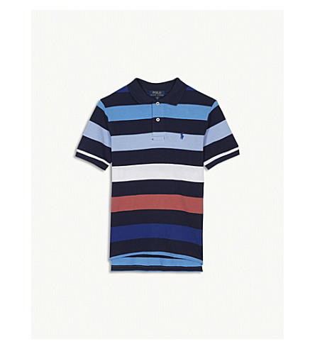 RALPH LAUREN Striped cotton polo shirt 4-16 years (Navy+multi