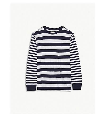 RALPH LAUREN Striped cotton long-sleeved top 4-16 years (White+multi