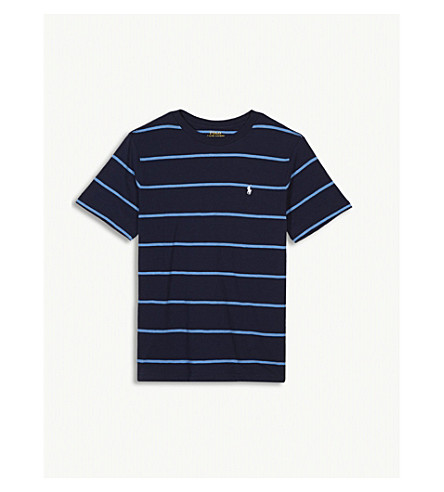 RALPH LAUREN Embroidered logo striped cotton T-shirt 4-16 years (Navy+multi