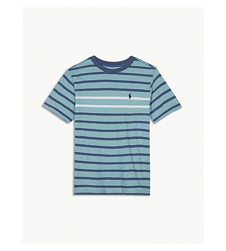 RALPH LAUREN Striped cotton crew t-shirt S-XL (Seafoam