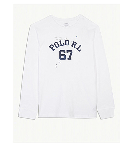 RALPH LAUREN Logo cotton top S-XL (White