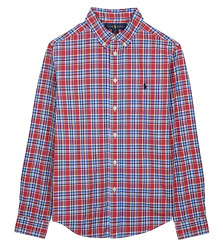 RALPH LAUREN Plaid poplin shirt 6-14 years (Red+multi
