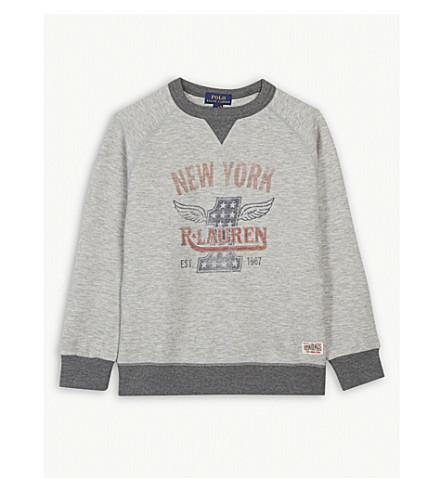 RALPH LAUREN New York cotton-blend sweatshirt S-XL (Light+grey