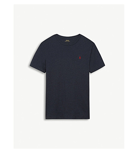 RALPH LAUREN Cotton crew neck brand logo T-shirt 6-14 years (Navy+heather