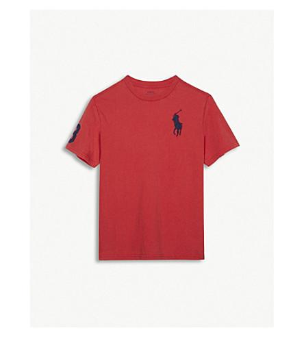 RALPH LAUREN Embroidered logo cotton T-shirt 6-14 years (Orange+red