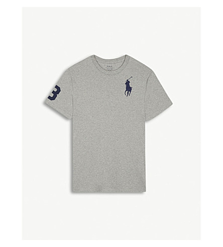 RALPH LAUREN Embroidered logo cotton T-shirt 6-14 years (Andover+heather